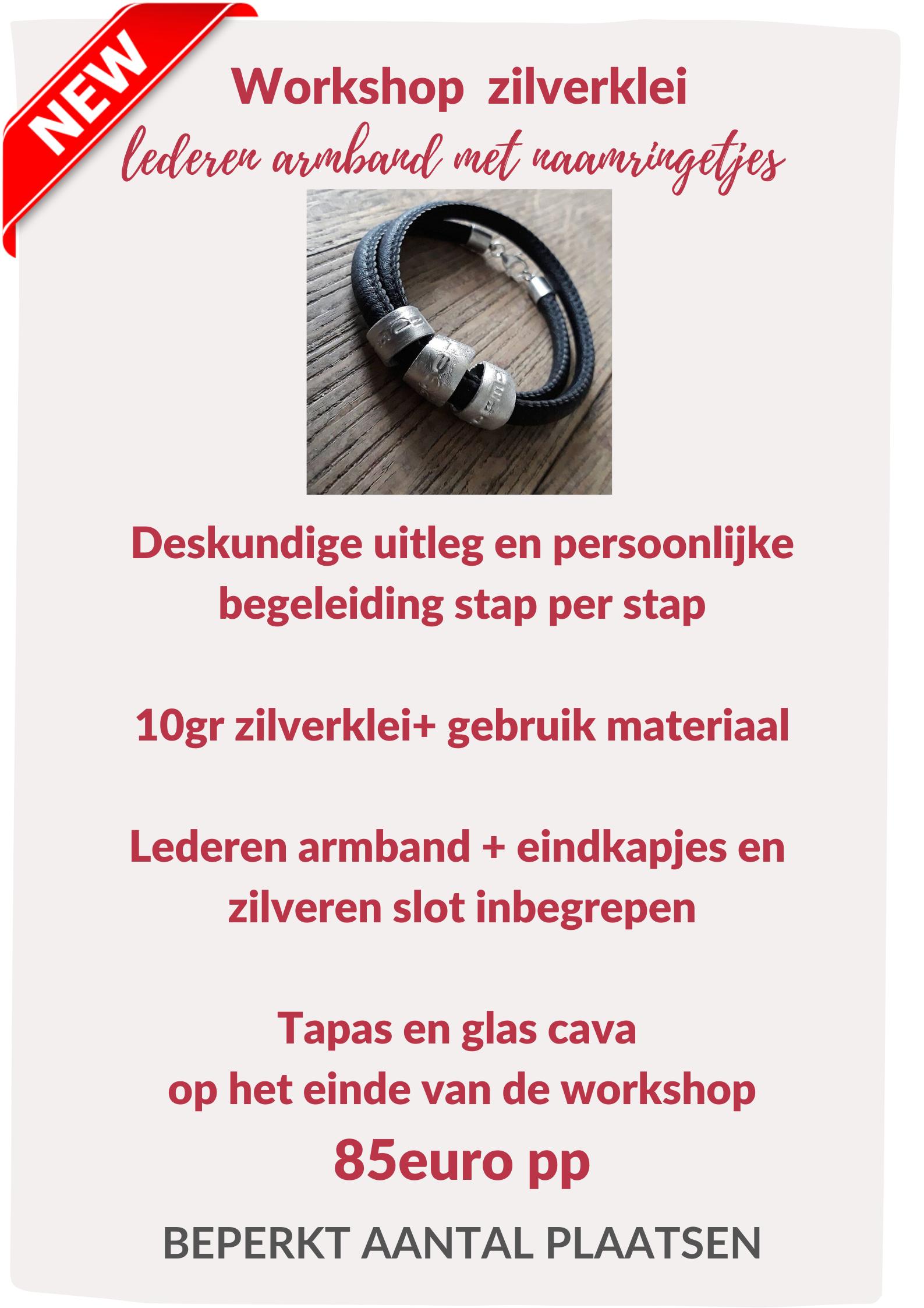 workshop zilverklei 'lederen armband met naamringetjes' 01 augustus 2020 (zaterdag) 00307