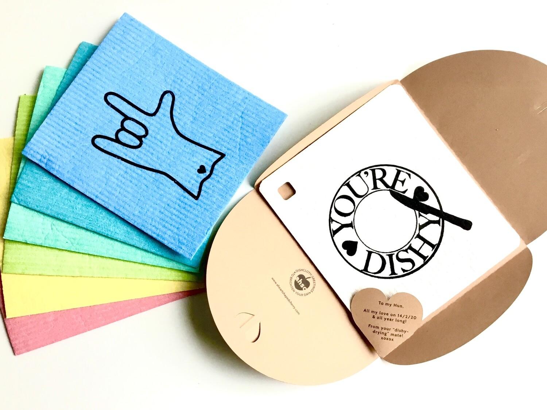 I LOVE YOU Eco Card Swedish Dishcloth