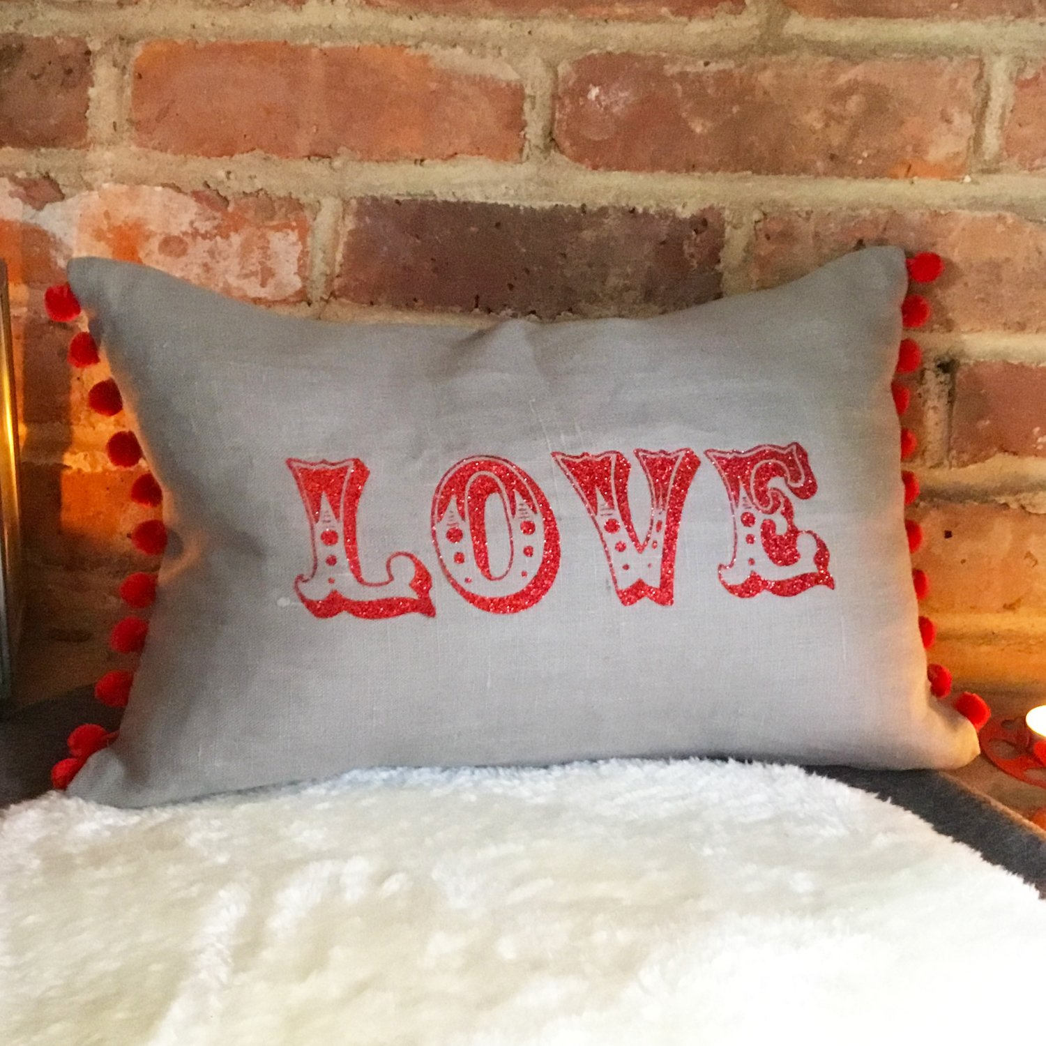 """Carnival """"Love"""" or personalised message rectangular Cushion"""