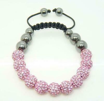 Top Quality 10mm Pink Micro Disco Ball Crystal Hematite Ball Bracelet