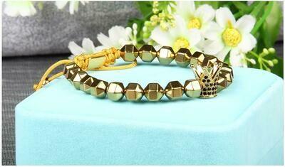 Natural Hematite Square Braided Bracelet