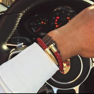 Stainless steel nail luxury genuine leather men bracelet