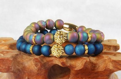 (2) Two Top Quality Blue and Purple Scrubs with PVD Plated Lion Head Bracelet*