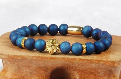 Top Quality Men's African Blue Scrub Stone with PVD Plated Lion Head Bracelet