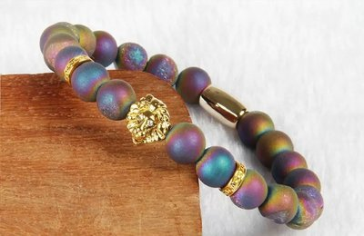 Top Quality Unisex African Colorful Scrub Stone with PVD Plated Lion Head Bracelet