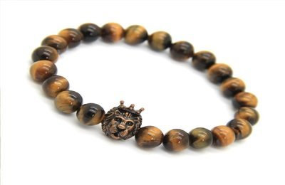 Men's Natural Tiger Eye Stone Beads with Copper Crown Lion Head Bracelet