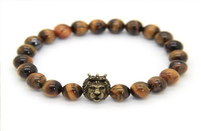 Men's Natural Tiger Eye Stone Beads with Gold Crown Lion Head Bracelet
