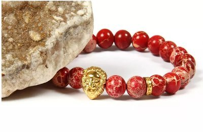 Men's Sediment Imperial Stone With Rose Stainless Steel Lion Head Red Beaded Bracelet