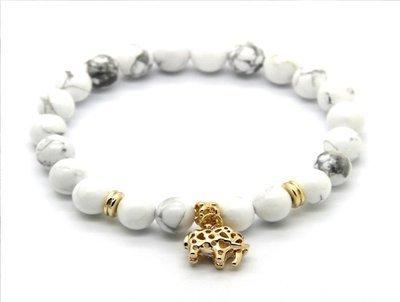 White Howlite Stone Real Gold Plated Elephant Charm Lucky Bracelet