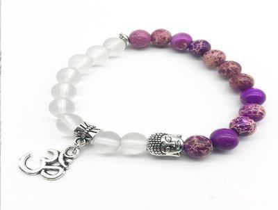 Natural Purple Regalite Jewelry Matte Clear Crystal Bracelet*