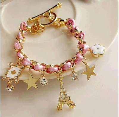 Hand-woven fashion five-pointed star flower poker A Paris Eiffel Tower crown leather rope braided bracelet*