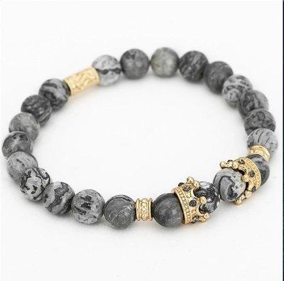 Crown Charm Bracelet Natural Marble Stone Bead Elastic*