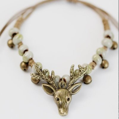 Ceramic Beads Hand-knitted Antique Bronze Plated Deer Head Charm Bracelet*