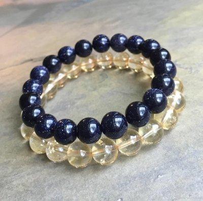 Blue Gold stone Beads Bracelet AND Citrine Beads Elastic Bracelet,Gemstone Bracelet*
