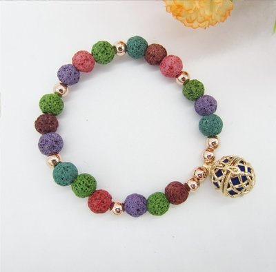 Multi Color Lava Beads and 16mm Locket Cage Essential Oil DIffuser Bracelet