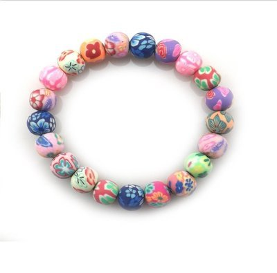 Multi Color Clay Beads For School Children Elastic Bracelets*