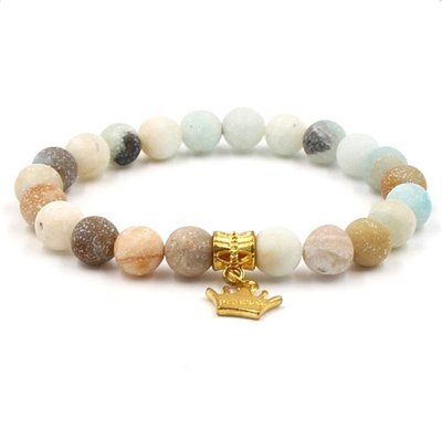 Natural Frosted Stone Crown Pendant Elastic Bracelet*
