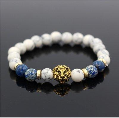 White Howlite Agate Stone Bead Bracelet Antique Gold Color Lion Head Charm Yoga Bracelet*