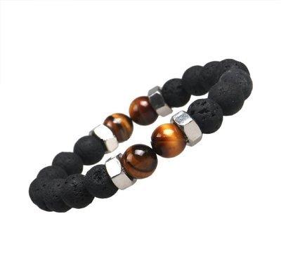 Tiger Eye Natural Black Lava Stone Bracelet*