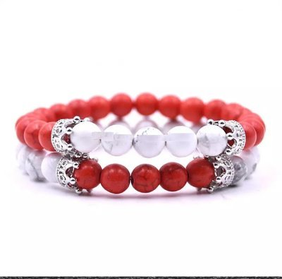 Agate & White Howlite Stone Crown King Beads His and Hers Couple Lover Bracelet Jewelry*