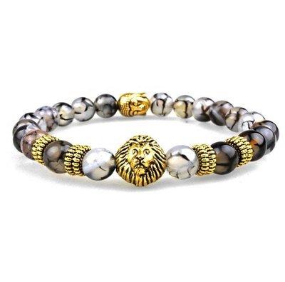 Natural Gold Black Lava Stone Beads Charm Bracelet