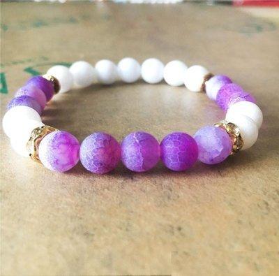 Natural Stone weathering agate stone matte yoga Bracelet*