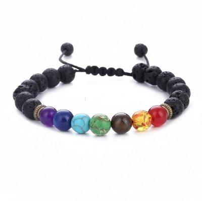 7 Reiki Chakra Lava Diffuser Healing Balance Beads Braid Bracelet