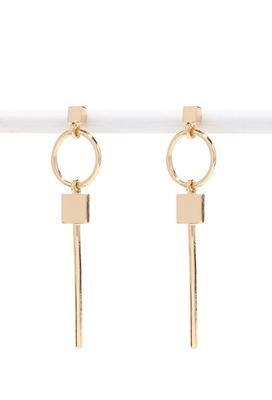 Gold Retro stud square circular geometry earrings