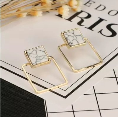 Faux Marble Gold Plated Square Geometric Ear Studs