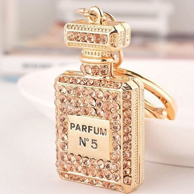 Gold Crystal perfume bottle keychain