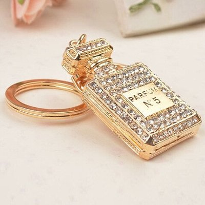 Silver Crystal perfume bottle keychain