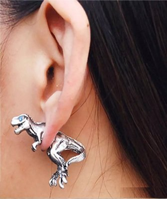 SILVER Alloy Dragon Dinosaur stud Ear Clip earrings