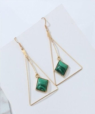 Triangle Stone Green Shell Dangle Earrings