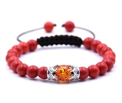 Woven adjustable Red Turquoise beaded Amber beaded bracelet with double crown