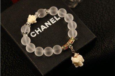Gold Mini elephant  natural abrasive crystal bracelet