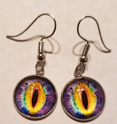 Purple Eye Charm Earrings