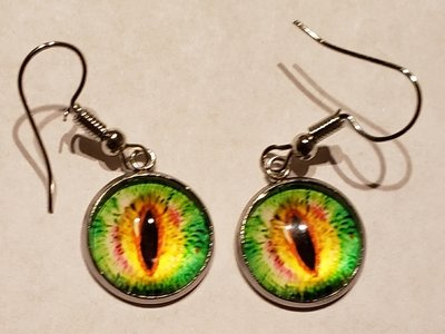 Lime Green/Yellow Crystal Eye  Earnings