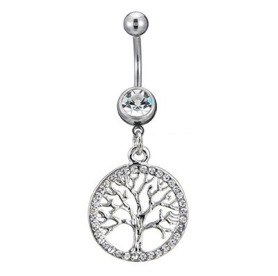 Silver Tree of Life Charm Belly Button Ring