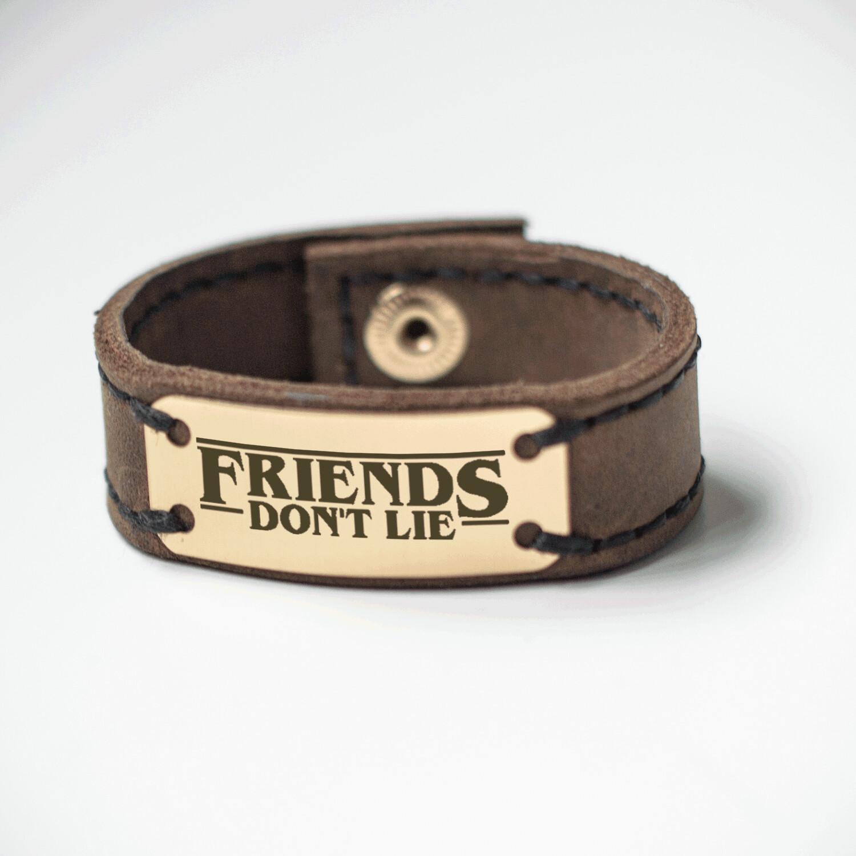 Stranger things bracelet genuine leather / Best friends bracelet / Friends don't lie