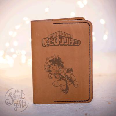 Izuku midoriya leather case/ Genuine leather cover for passport / My hero academia gift