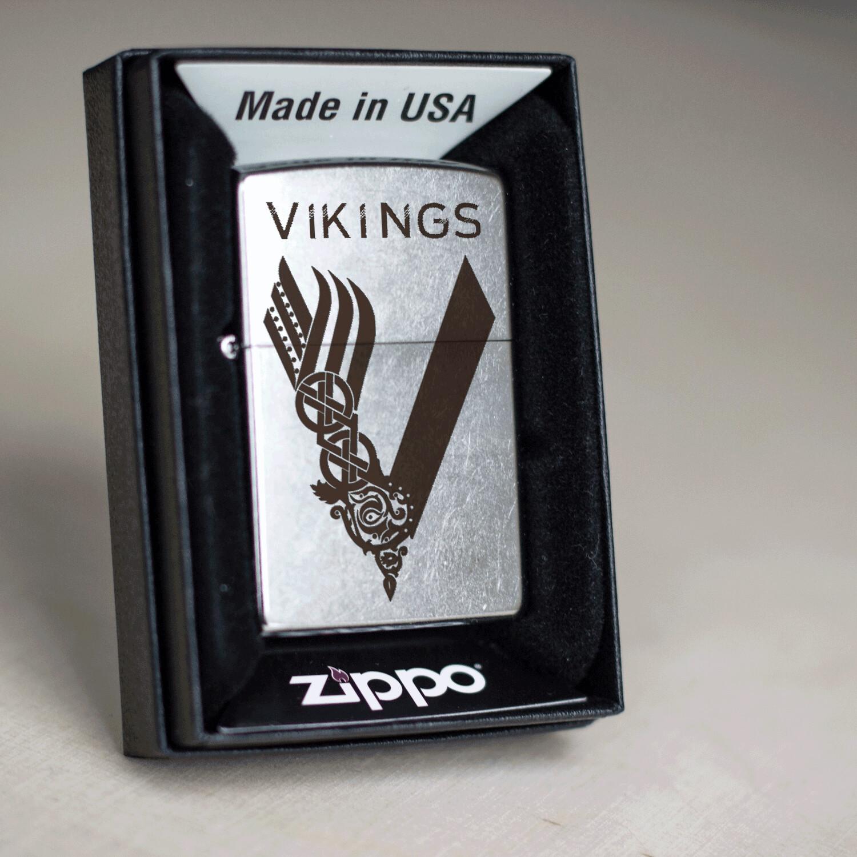 Vikings series custom Zippo 207 lighter / Ragnar Lodbrok / Bjorn Ironside