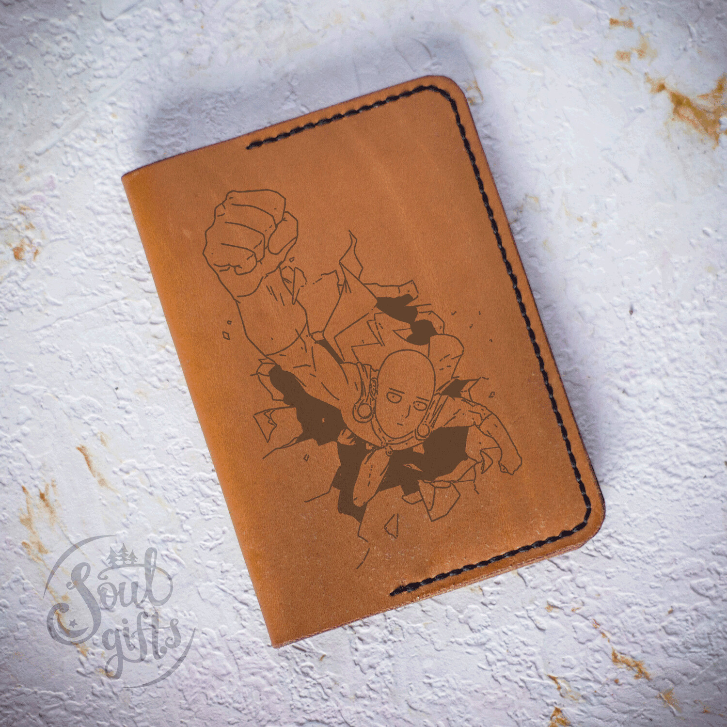 One Punch Man leather case/ Genuine leather cover for passport / Saitama Bald Cape gift