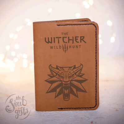 The Witcher leather ID cover / Genuine leather cover for passport / Geralt Grey Wolf gift