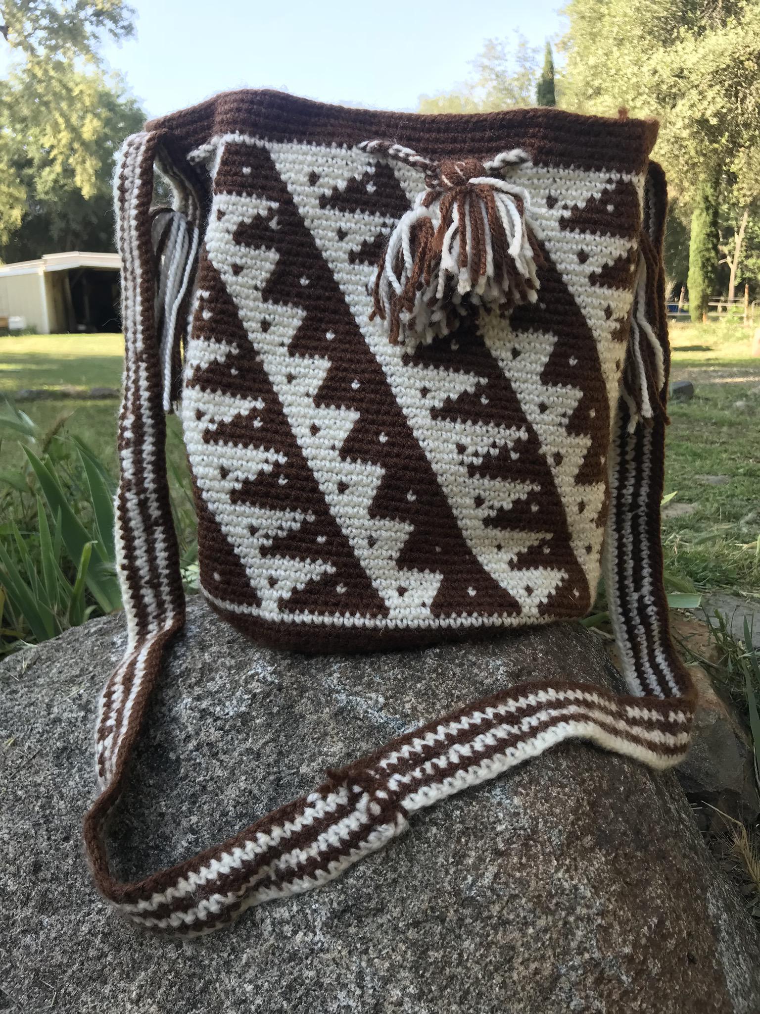Brown & Cream Large Mochilla Bag 00079