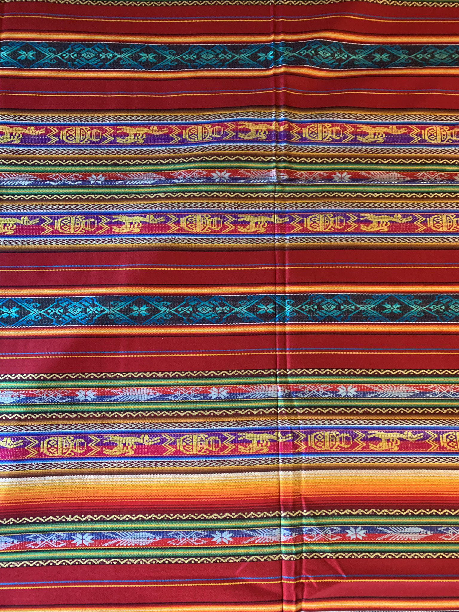 Large Red Mexican Tablecloth  00093