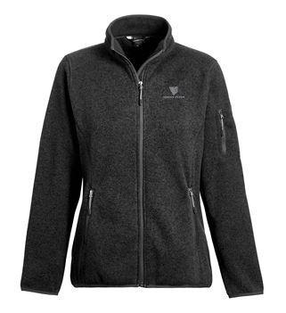 Ladies Ashton Sweater-Knit Fleece Jacket - Black w/ Embroidered Logo