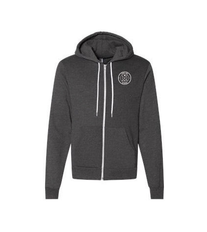 American Apparel USA-Made Flex Fleece Hooded Full-Zip Sweatshirt - Dark Heather Gray w/ Heat Sealed Logo