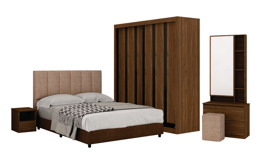 Bedroom Set with 5' wardrobe and queen size divan