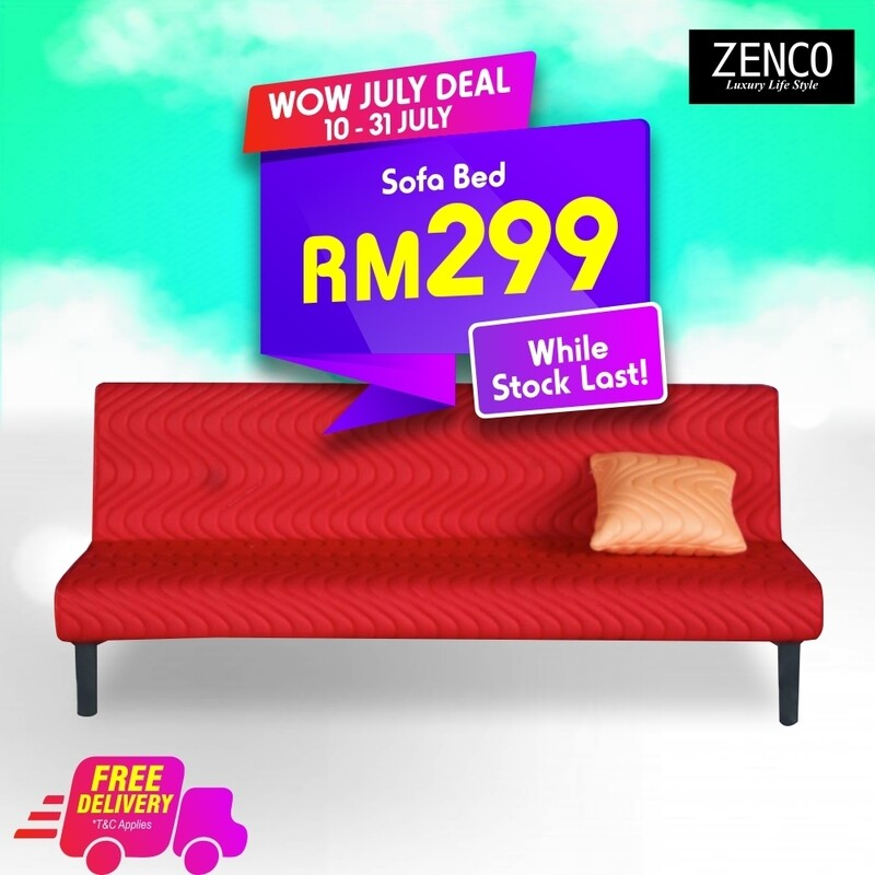 Modern Sofa Bed with FREE cushion - Red