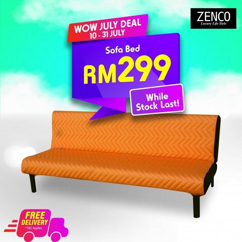 Modern Sofa Bed with FREE cushion - Orange